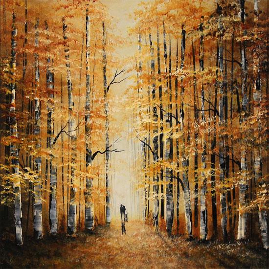 Jay Nottingham, Original oil painting on panel, Autumn Wood