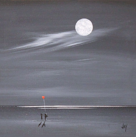 Jay Nottingham, Original oil painting on panel, Moonlight Surprise