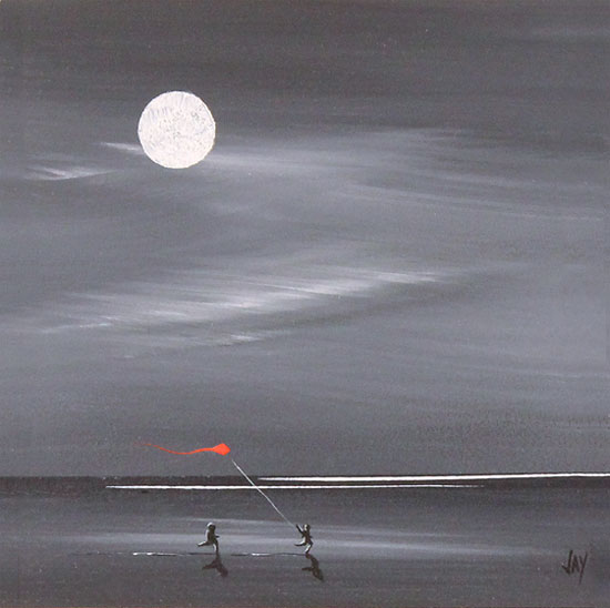 Jay Nottingham, Original oil painting on panel, Moonlight Kite