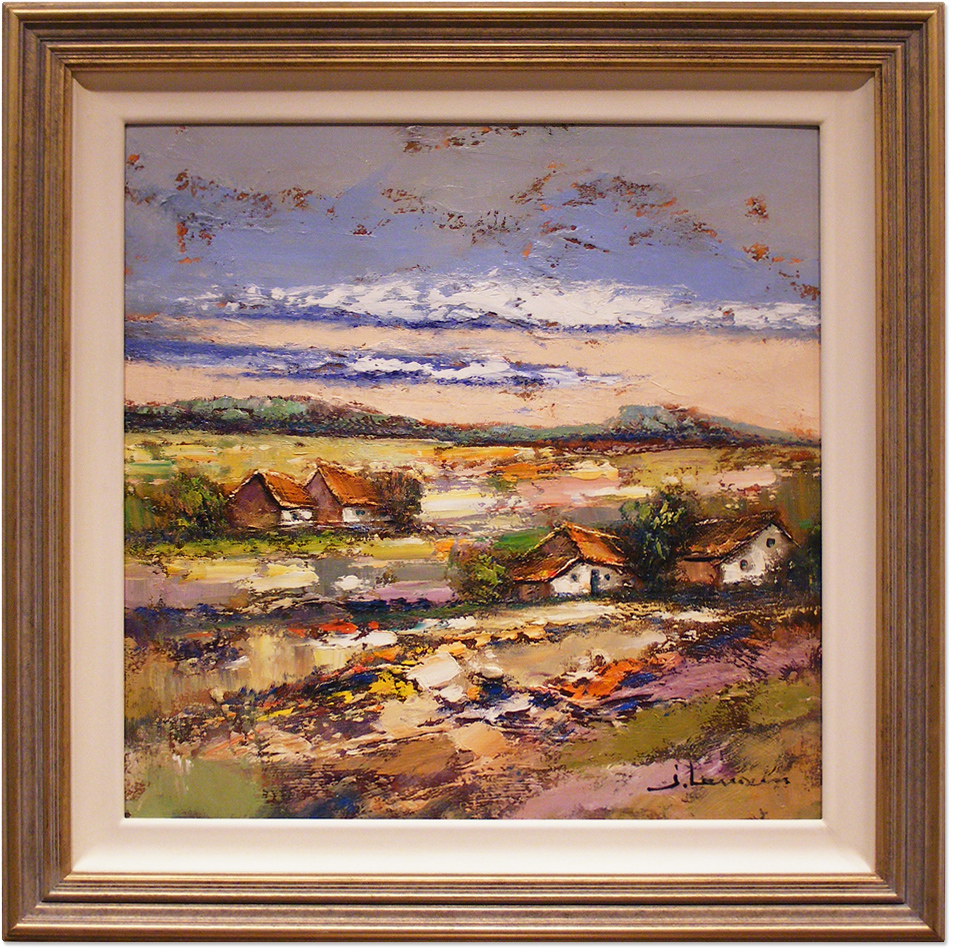 Jef Lenaers, Original oil painting on canvas, Abstracted Landscape, click to enlarge