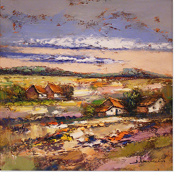Jef Lenaers, Original oil painting on canvas, Abstracted Landscape