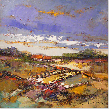 Jef Lenaers, Original oil painting on canvas, Abstracted Landscape Without frame image. Click to enlarge