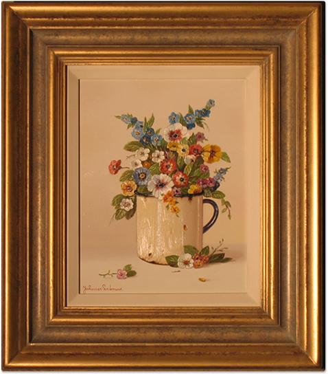 Johannes Eerdmans, Original oil painting on panel, Flowers in Mug, click to enlarge