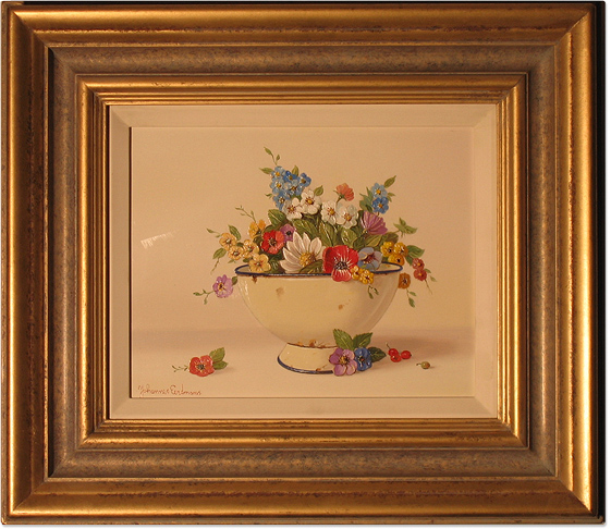 Johannes Eerdmans, Original oil painting on panel, Flowers in Bowl. Click to enlarge