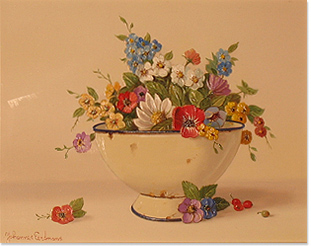 Johannes Eerdmans, Original oil painting on panel, Flowers in Bowl Without frame image. Click to enlarge