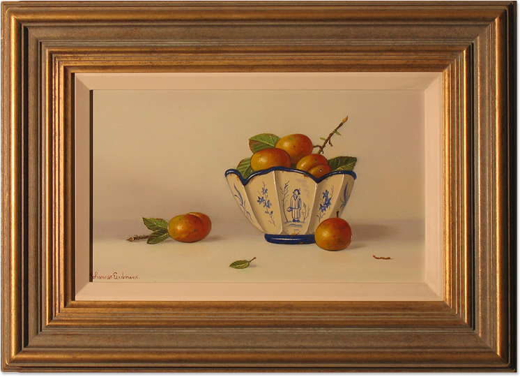 Johannes Eerdmans, Original oil painting on panel, Plums in China, click to enlarge