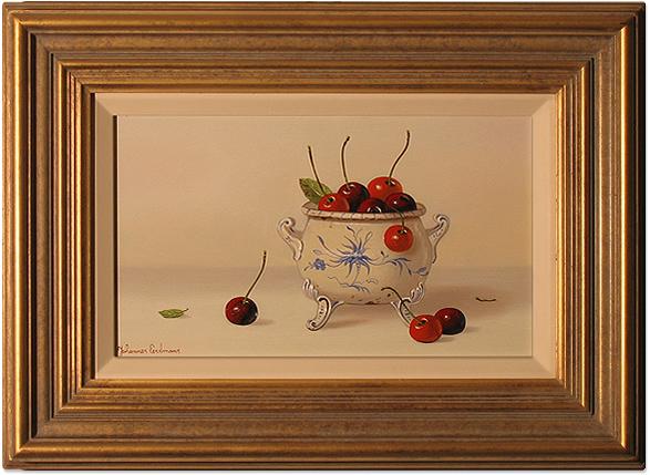 Johannes Eerdmans, Original oil painting on panel, Cherries. Click to enlarge