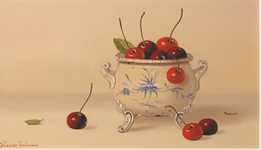 Johannes Eerdmans, Original oil painting on panel, Cherries Without frame image. Click to enlarge