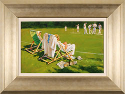 John Haskins, Original oil painting on panel, Pitchside Commentary