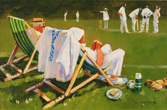 John Haskins, Original oil painting on panel, The Umpire's Decision