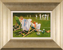 John Haskins, Original oil painting on panel, The Umpire's Decision Large image. Click to enlarge