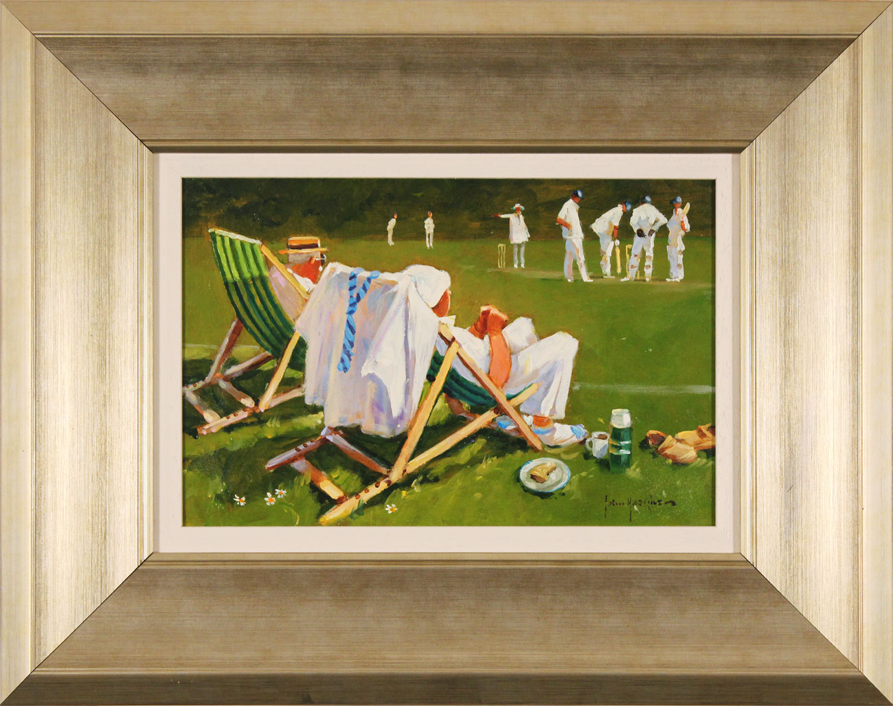 John Haskins, Original oil painting on panel, The Umpire's Decision. Click to enlarge