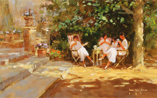John Haskins, Original oil painting on panel, Ladies to Lunch Without frame image. Click to enlarge