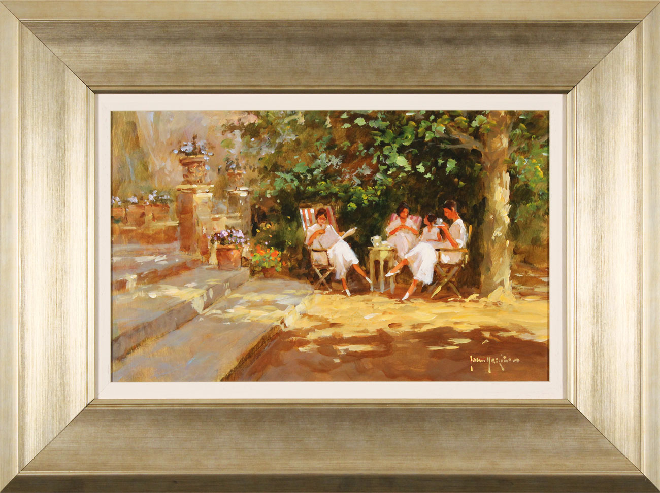 John Haskins, Original oil painting on panel, Ladies to Lunch. Click to enlarge