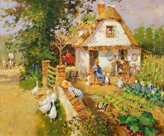 John Haskins, Original oil painting on panel, Walnut Cottage Without frame image. Click to enlarge