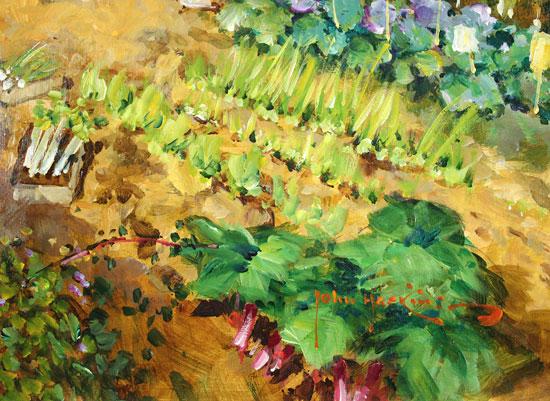 John Haskins, Original oil painting on panel, Walnut Cottage Signature image. Click to enlarge
