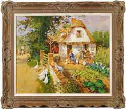 John Haskins, Original oil painting on panel, Walnut Cottage