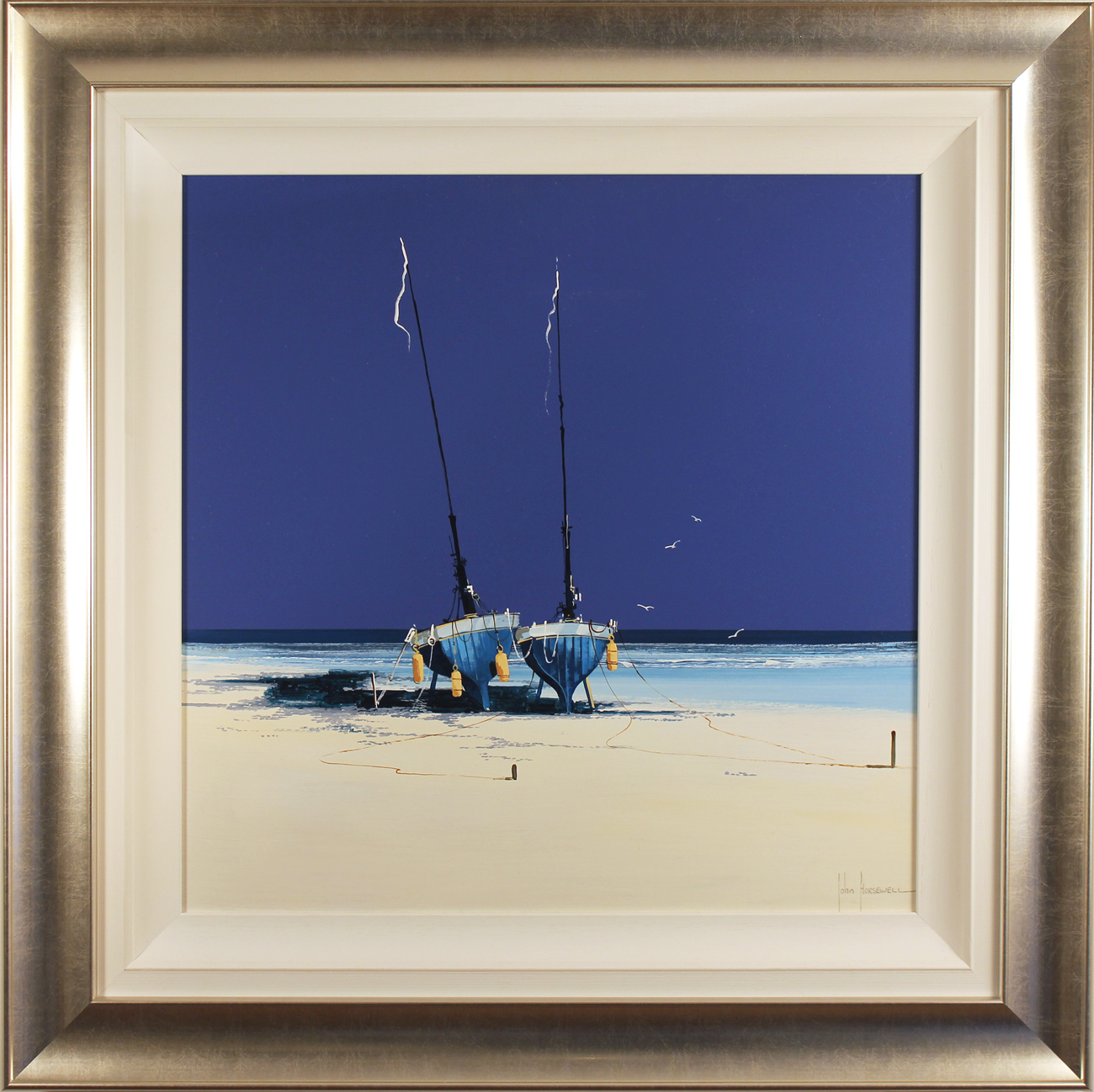 John Horsewell, Original oil painting on panel, Cobalt Beach, click to enlarge