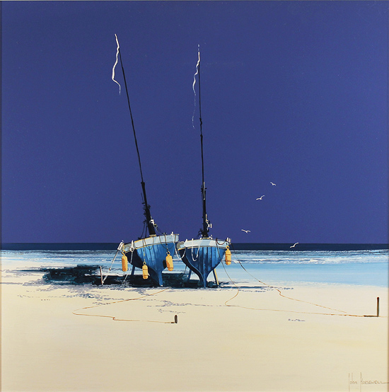John Horsewell, Original oil painting on panel, Cobalt Beach Without frame image. Click to enlarge