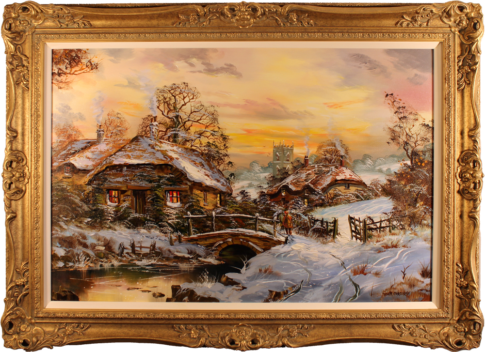 John Corcoran, Original oil painting on canvas, English Country Cottage, click to enlarge