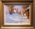John Haskins, Original oil painting on panel, Sunshine and Snow
