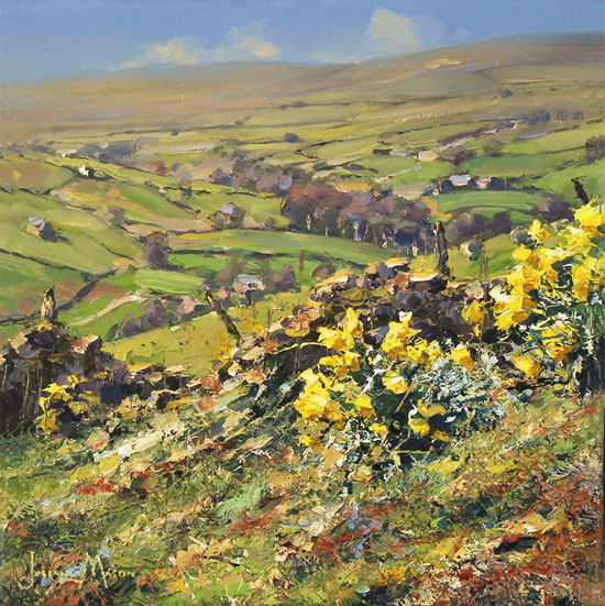 Julian Mason, Original oil painting on canvas, Spring, Middlesmoor Without frame image. Click to enlarge