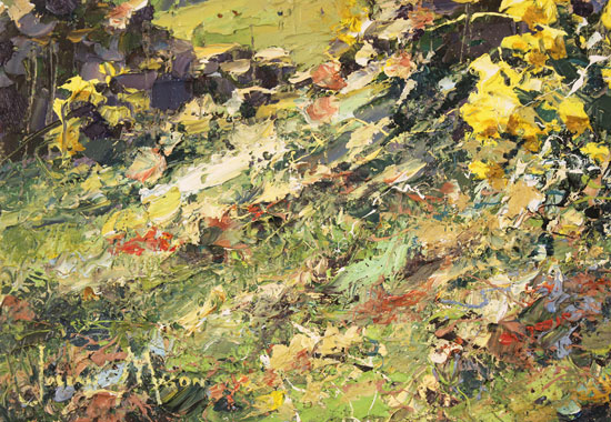 Julian Mason, Original oil painting on canvas, Spring, Middlesmoor Signature image. Click to enlarge