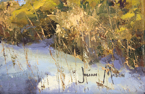 Julian Mason, Original oil painting on canvas, Last Days of Winter, Clough Brook