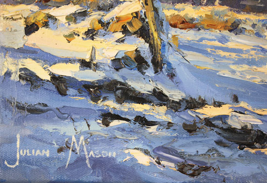 Julian Mason, Original oil painting on canvas, Snowfields Signature image. Click to enlarge