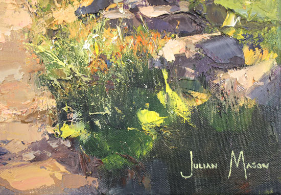 Julian Mason, Original oil painting on canvas, May on the Gritstone Trail Signature image. Click to enlarge