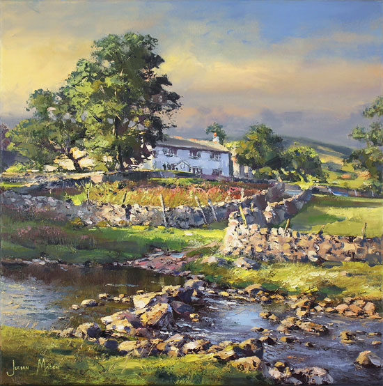 Julian Mason, Original oil painting on canvas, River Wharfe, Beckermonds Without frame image. Click to enlarge