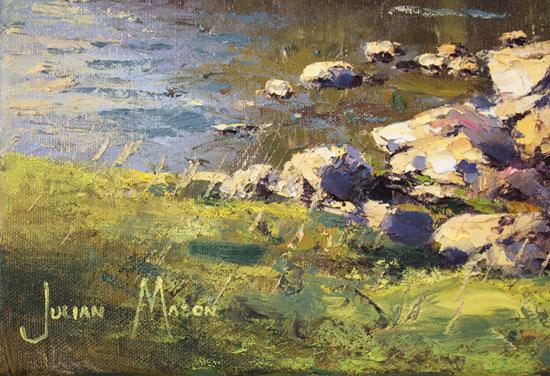 Julian Mason, Original oil painting on canvas, River Wharfe, Beckermonds Signature image. Click to enlarge