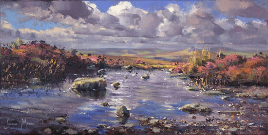 Julian Mason, Original oil painting on canvas, Pools on Stanage Edge Without frame image. Click to enlarge