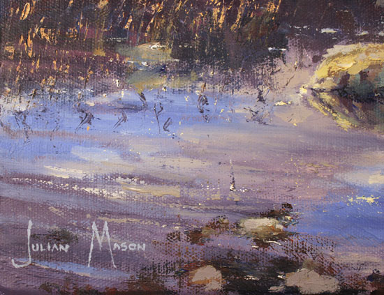 Julian Mason, Original oil painting on canvas, Pools on Stanage Edge Signature image. Click to enlarge