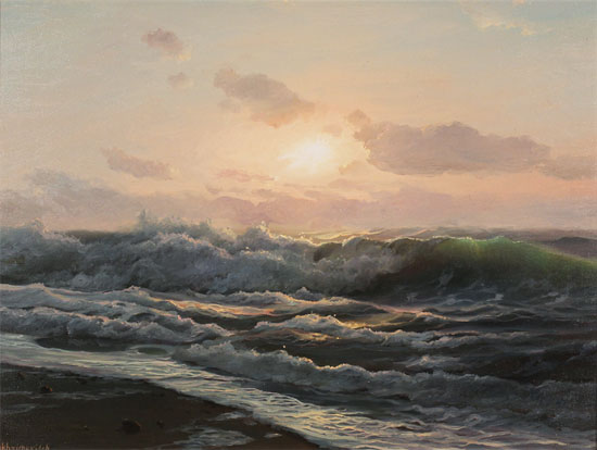 Juriy Ohremovich, Original oil painting on canvas, Breaking Waves