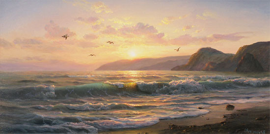 Juriy Ohremovich, Original oil painting on canvas, Sunset Tides