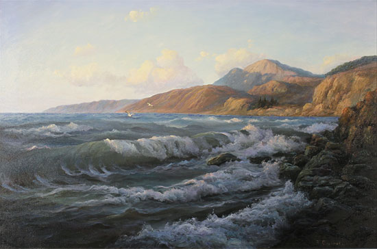 Juriy Ohremovich, Original oil painting on canvas, Crashing Waves and Coastal Light Without frame image. Click to enlarge