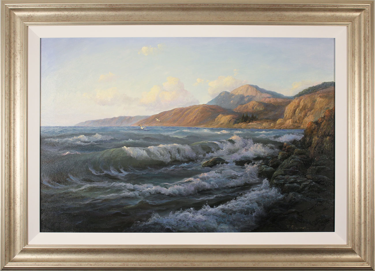 Juriy Ohremovich, Original oil painting on canvas, Crashing Waves and Coastal Light. Click to enlarge