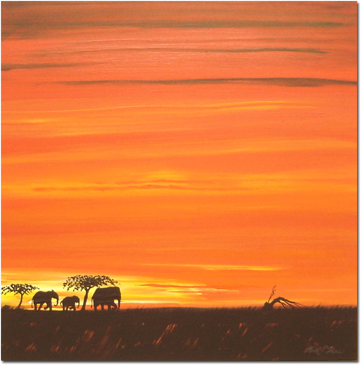 Keith Shaw, Original acrylic painting on board, Elephants at Dusk. Click to enlarge