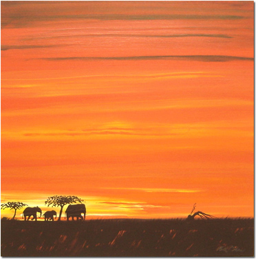 Keith Shaw, Original acrylic painting on board, Elephants at Dusk Without frame image. Click to enlarge