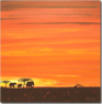 Keith Shaw, Original acrylic painting on board, Elephants at Dusk