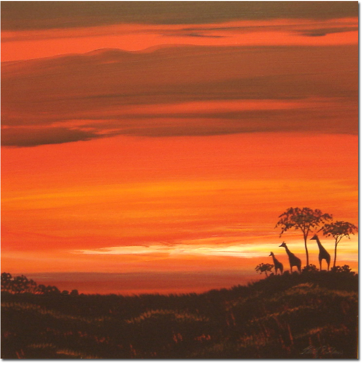 Keith Shaw, Original acrylic painting on board, Giraffes at Dusk. Click to enlarge