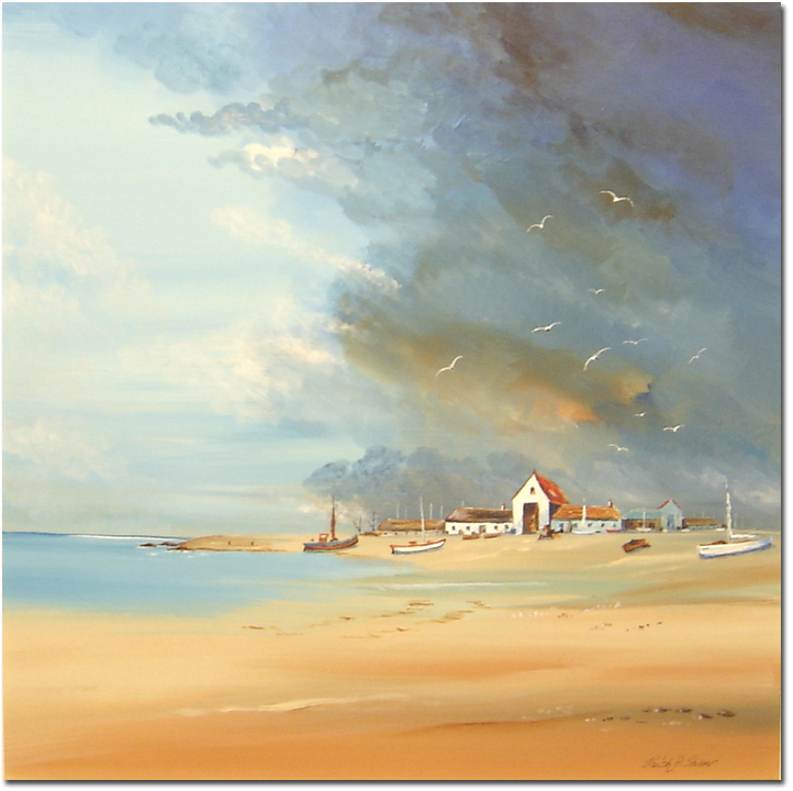 Keith Shaw, Original acrylic painting on board, Untitled Seaside. Click to enlarge