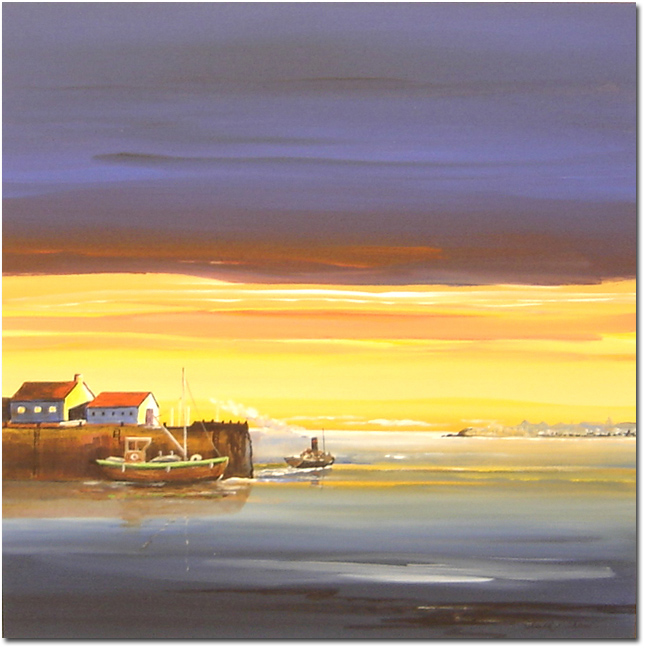 Keith Shaw, Original acrylic painting on board, Harbour at Sunset. Click to enlarge
