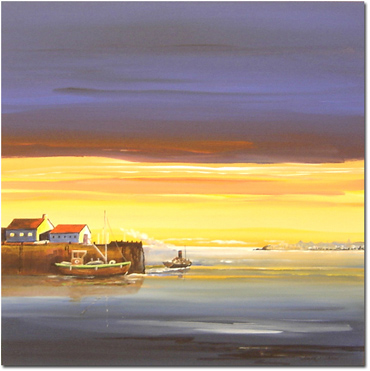 Keith Shaw, Original acrylic painting on board, Harbour at Sunset Without frame image. Click to enlarge