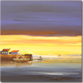 Keith Shaw, Original acrylic painting on board, Harbour at Sunset