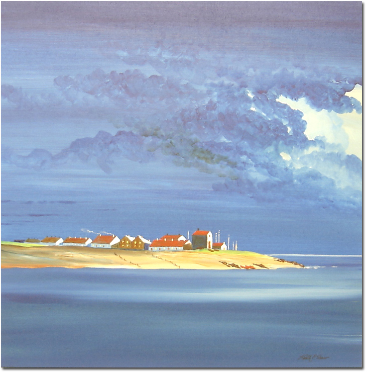 Keith Shaw, Original acrylic painting on board, Fisherman's Cottages by Moonlight, click to enlarge
