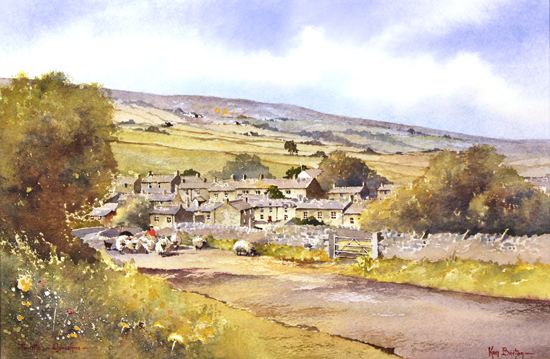Ken Burton, Watercolour, Thwaite, Yorkshire Without frame image. Click to enlarge