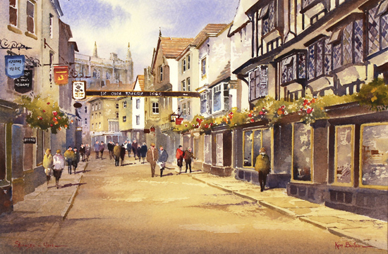 Ken Burton, Watercolour, Stonegate, York No frame image. Click to enlarge