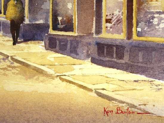 Ken Burton, Watercolour, Stonegate, York Signature image. Click to enlarge